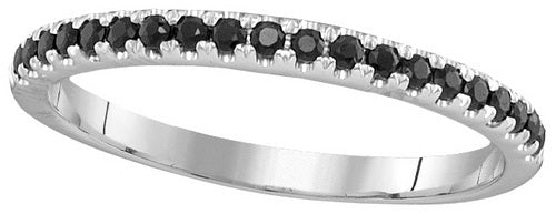 14k White Gold Round Single Row Black Sapphire Band Ring 1/4 Cttw
