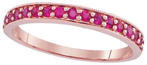 14k Rose Gold Round Ruby Single Row Band Ring 1/2 Cttw