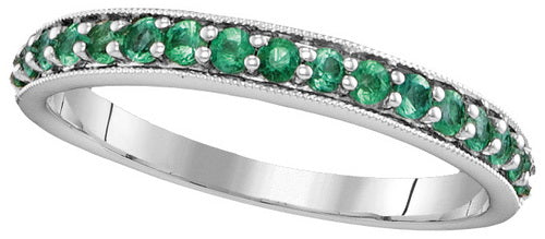 14k White Gold Round Emerald Single Row Band 1/2 Cttw