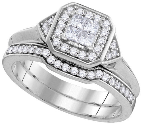 10k White Gold Princess Diamond Halo Bridal Wedding Ring Set 1/2 Cttw