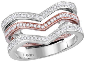 10k White Rose Gold Diamond 3-piece Triple Stackable Chevron Band Ring 1/3 Cttw