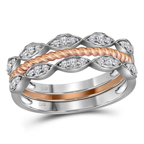 10k Two-tone Gold Round Diamond Stackable Rope Band Ring 1/5 Cttw