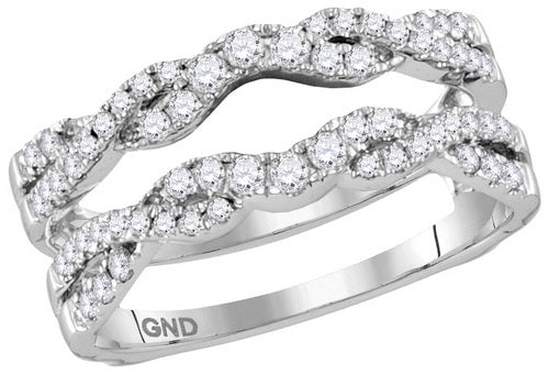 14k White Gold Round Diamond Ring Guard Wrap Solitaire Enhancer 1/2 Cttw