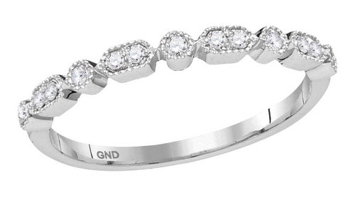10k White Gold Round Diamond Stackable Band Ring 1/8 Cttw