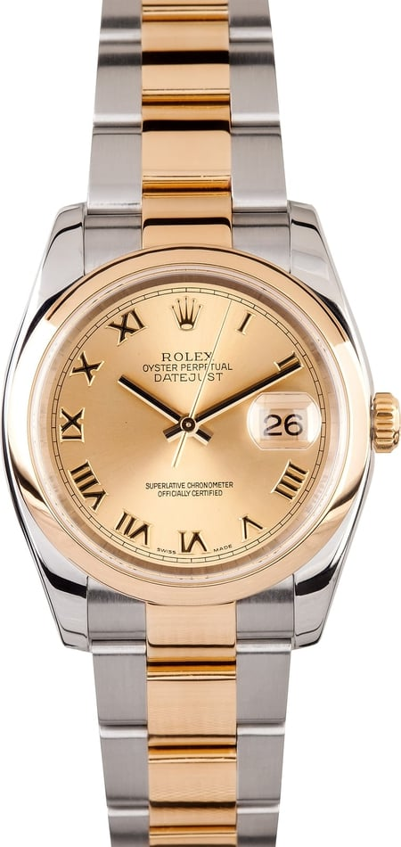 GENTS ROLEX DATEJUST 18KY & SS WATCH 36MM MODEL 116203 - CHAMPAGNE, OYSTERCLASP BRACELET