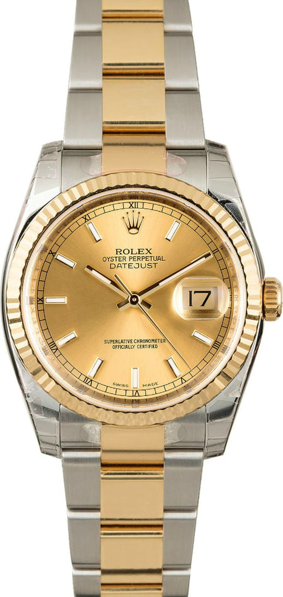 GENTS ROLEX DATEJUST 18KY & SS WATCH 36MM MODEL 116233 - CHAMPAGNE, OYSTERCLASP BRACELET