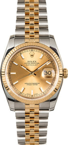 GENTS ROLEX DATEJUST 18KY & SS WATCH 36MM MODEL 116233 - CHAMPAGNE, SUPER JUBILEE BRACELET
