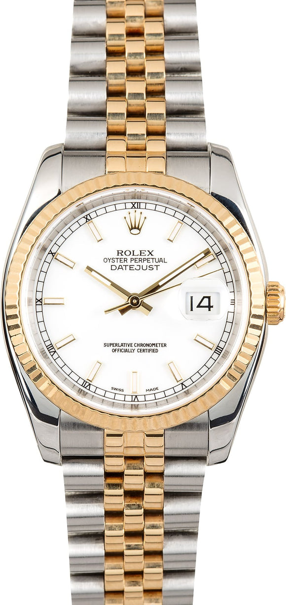 GENTS ROLEX DATEJUST 18KY & SS WATCH 36MM MODEL 116233 - WHITE, SUPER JUBILEE BRACELET