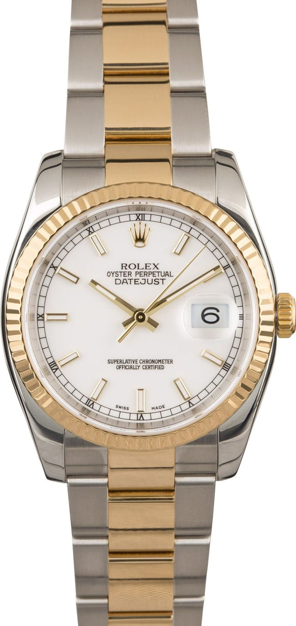 GENTS ROLEX DATEJUST 18KY & SS WATCH 36MM MODEL 116233 - WHITE, OYSTERCLASP BRACELET