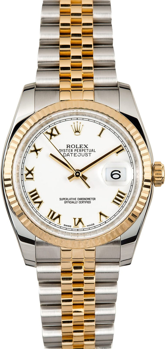 GENTS ROLEX DATEJUST 18KY & SS WATCH 36MM MODEL 116233 - WHITE ROMAN NUMERAL, SUPER JUBILEE BRACELET