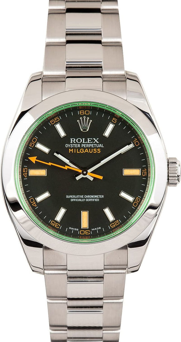 GENTS ROLEX SPORT MILGAUSS WATCH 40MM MODEL # 116400 - BLACK DIAL, OYSTERLOCK BRACELET