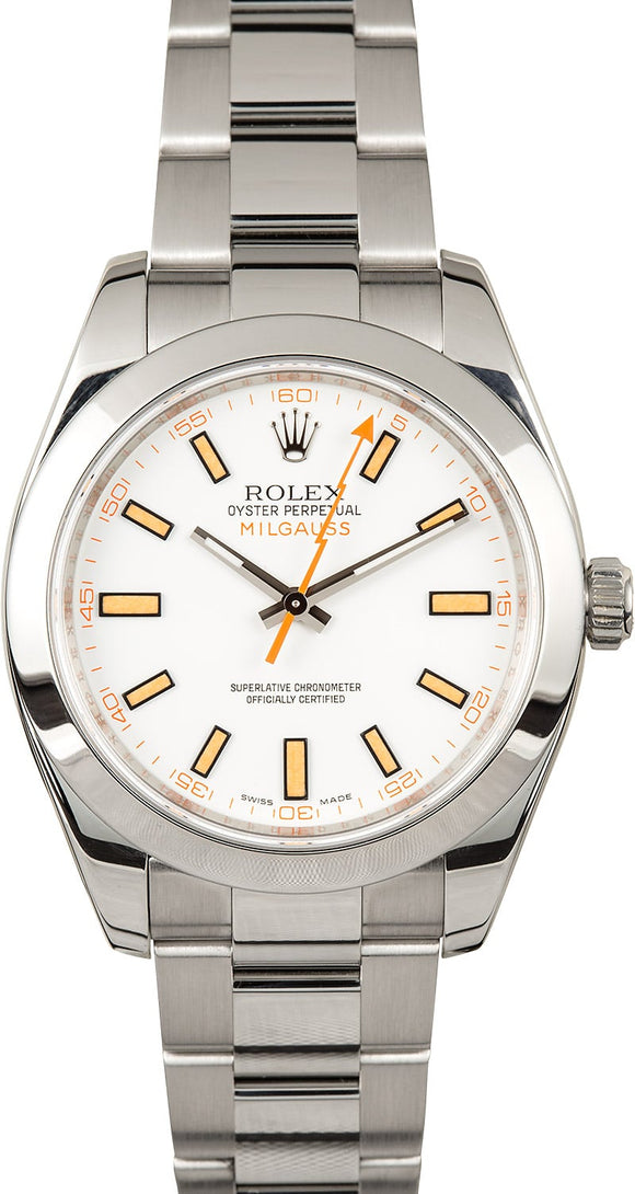 GENTS ROLEX SPORT MILGAUSS WATCH 40MM MODEL # 116400 - WHITE DIAL, OYSTERLOCK BRACELET