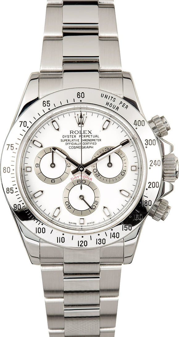 GENTS ROLEX SPORT COSMOGRAPH DAYTONA WATCH 40MM MODEL 116520 - WHITE DIAL, OYSTERLOCK BRACELET