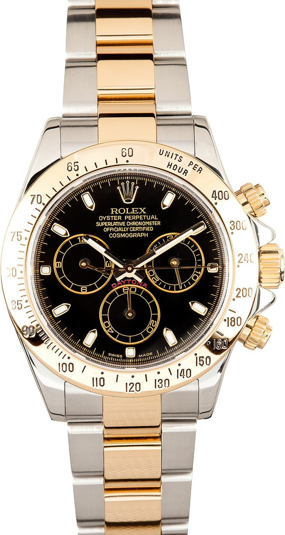 GENTS ROLEX SPORT COSMOGRAPH DAYTONA WATCH 40MM MODEL 116523 - BLACK DIAL, OYSTERLOCK BRACELET