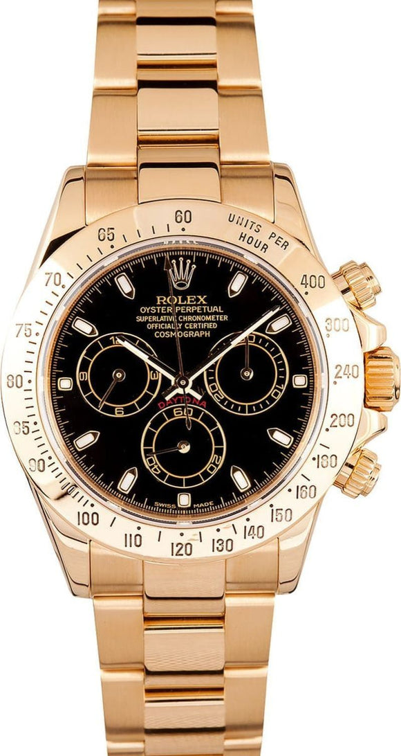 GENTS ROLEX SPORT COSMOGRAPH DAYTONA WATCH 40MM MODEL 116528 - BLACK DIAL, OYSTERLOCK BRACELET