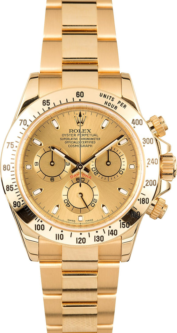GENTS ROLEX SPORT COSMOGRAPH DAYTONA WATCH 40MM MODEL 116528 - CHAMP. DIAL, OYSTERLOCK BRACELET