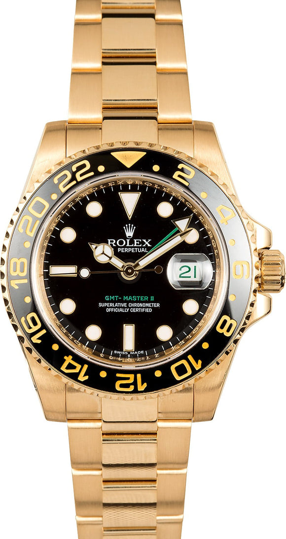 GENTS ROLEX GMT-MASTER II WATCH 40MM MODEL 116718 - CERAMIC BLACK BEZEL, OYSTERLOCK BRACELET
