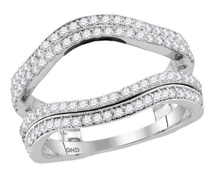 14k White Gold Round Diamond Wrap Ring Guard Enhancer Wedding Band 3/4 Cttw