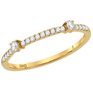 10k Yellow Gold Round Diamond Single Row Stackable Band Ring 1/6 Cttw