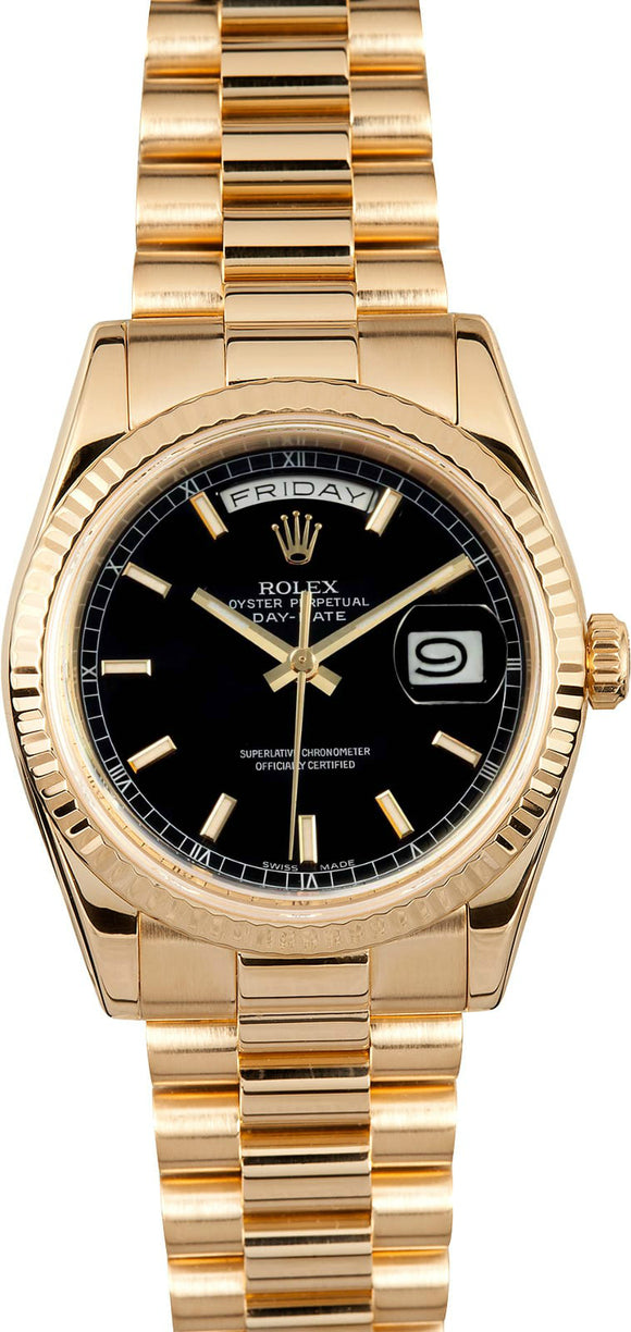 GENT'S ROLEX DAY-DATE PRESIDENT WATCH 36MM MODEL 118238 -BLACK DIAL, PRESIDENT BRACELET