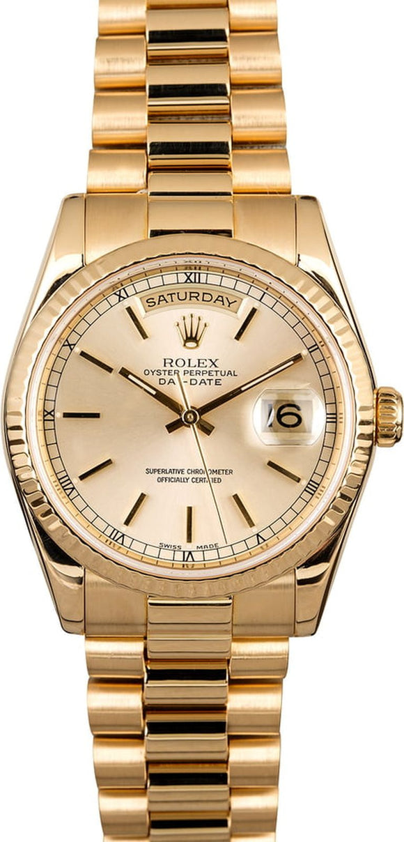 GENT'S ROLEX DAY-DATE PRESIDENT WATCH 36MM MODEL 118238 - CHAMPAGNE DIAL, PRESIDENT BRACELET