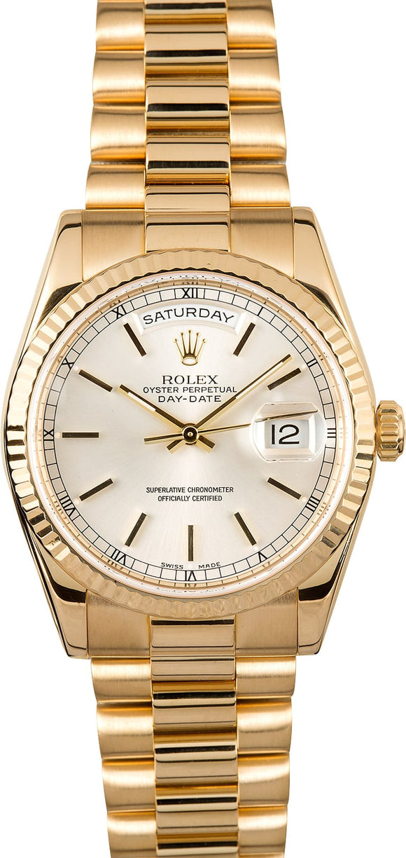 GENT'S ROLEX DAY-DATE PRESIDENT WATCH 36MM MODEL 118238 - SILVER DIAL, PRESIDENT BRACELET