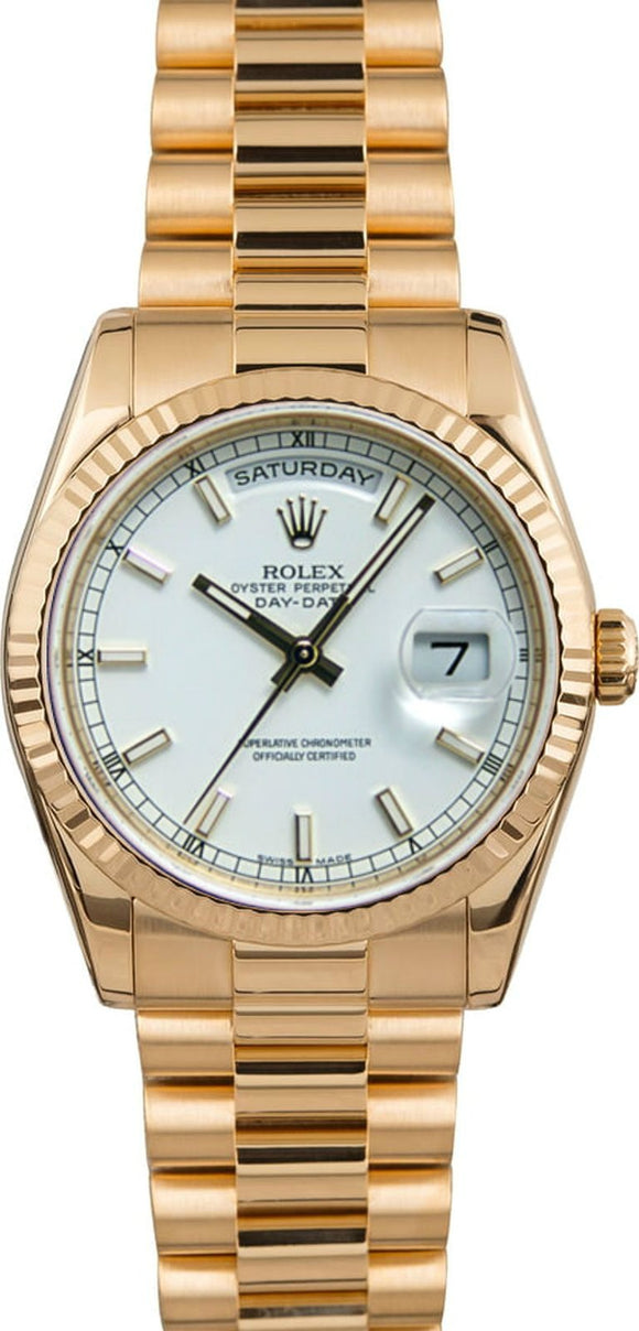 GENT'S ROLEX DAY-DATE PRESIDENT WATCH 36MM MODEL 118238 - WHITE DIAL, PRESIDENT BRACELET