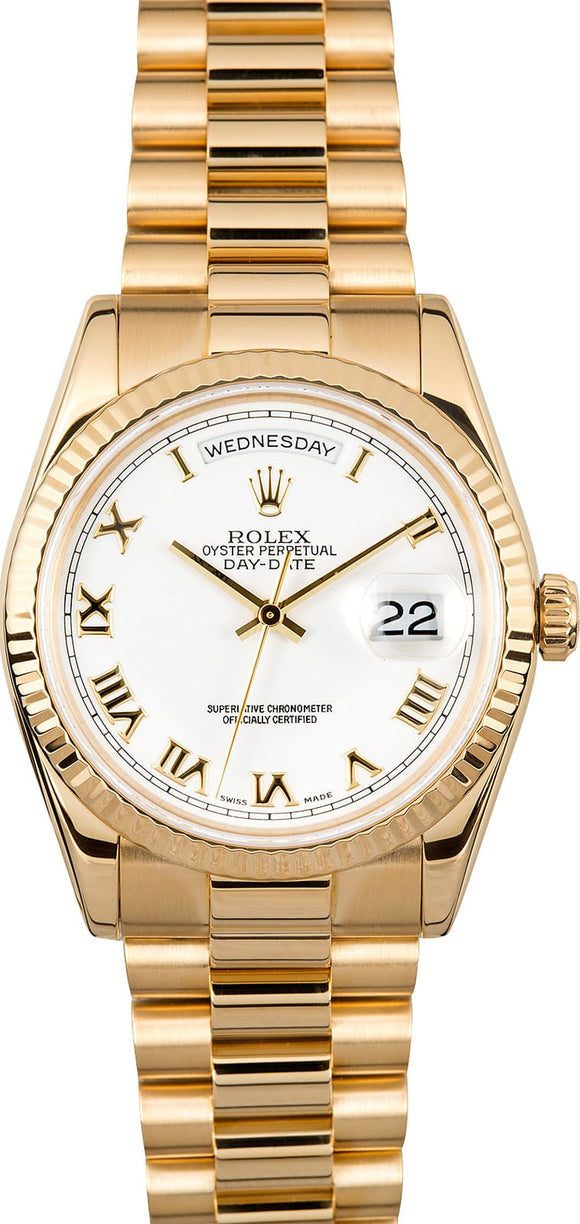 GENT'S ROLEX DAY-DATE PRESIDENT WATCH 36MM MODEL 118238 - WHITE ROMAN DIAL, PRESIDENT BRACELET