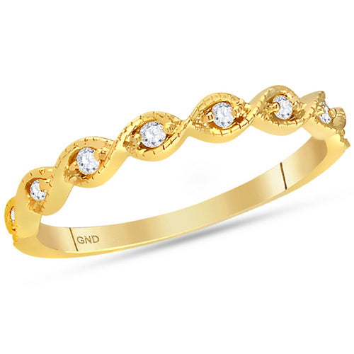 14kt Yellow Gold Round Diamond Contoured Stackable Band Ring 1/10 Cttw