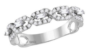 14k White Gold Round Diamond Twist Stackable Band Ring 1/3 Cttw