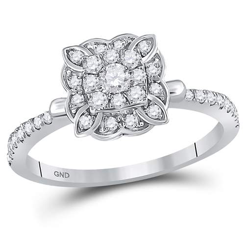 1/2CTW-DIAMOND FLORAL RING
