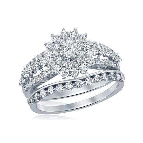 1 CTW-DIAMOND FLORAL RING