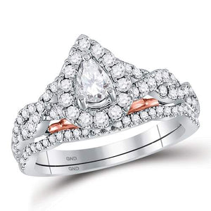 1 CT-DIAMOND 1/4CT-CENTER PEAR  BRIDAL RING
