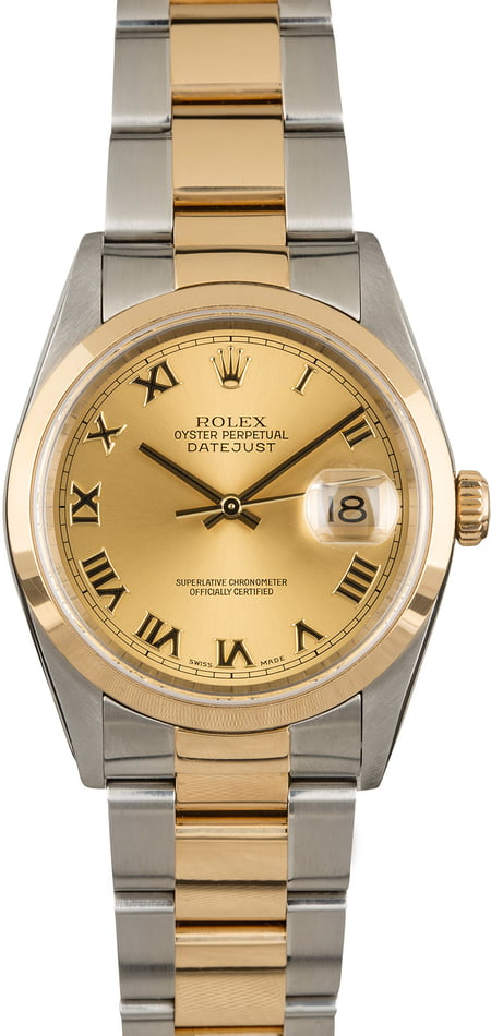 GENTS ROLEX DATEJUST 18KY & SS WATCH 36MM MODEL 16203 - CHAMPAGNE, OYSTER BRACELET
