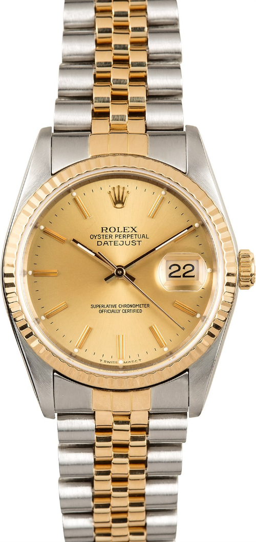GENTS ROLEX DATEJUST 18KY & SS WATCH 36MM MODEL 16233 - CHAMPAGNE, JUBILEE BRACELET