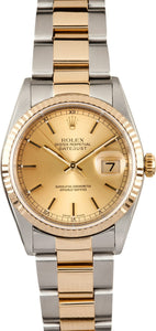 GENTS ROLEX DATEJUST 18KY & SS WATCH 36MM MODEL 16233 - CHAMPAGNE, OYSTER BRACELET