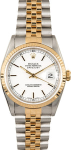 GENTS ROLEX DATEJUST 18KY & SS WATCH 36MM MODEL 16233 - WHITE, JUBILEE BRACELET