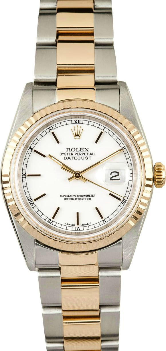 GENTS ROLEX DATEJUST 18KY & SS WATCH 36MM MODEL 16233 - WHITE, OYSTER BRACELET