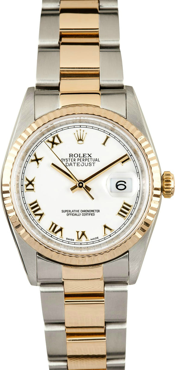 GENTS ROLEX DATEJUST 18KY & SS WATCH 36MM MODEL 16233 - WHITE ROMAN NUMERAL, OYSTER BRACELET