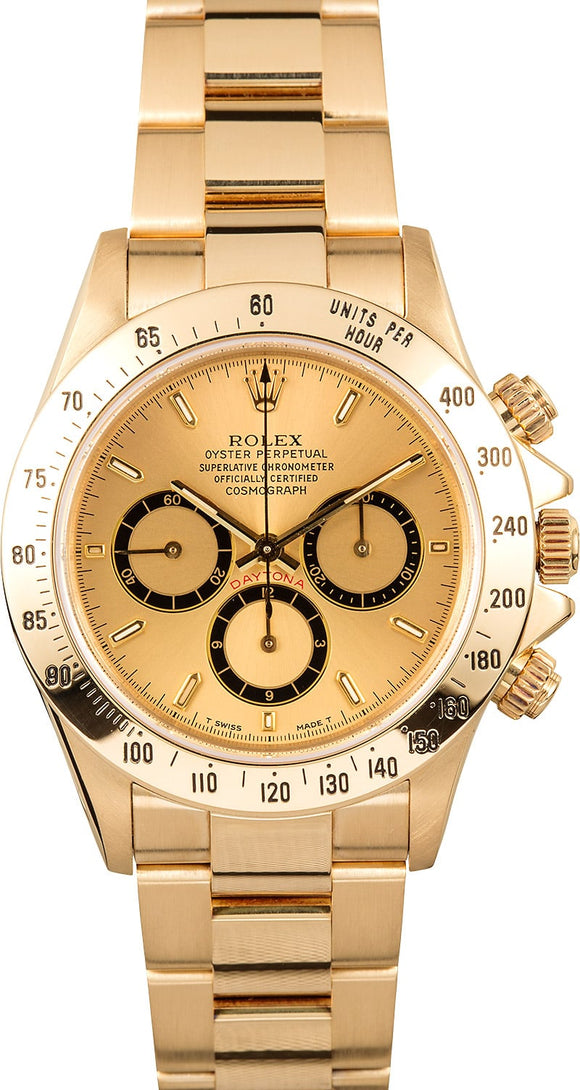 GENTS ROLEX SPORT COSMOGRAPH DAYTONA WATCH 40MM MODEL 16528 - CHAMP. DIAL, OYSTER SPORT BRACELET