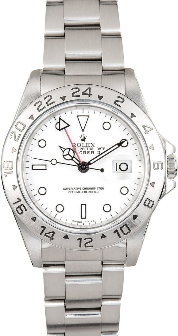 GENTS ROLEX SPORT EXPLORER II WATCH 40MM MODEL # 16570 - WHITE DIAL, OYSTER SPORT BRACELET