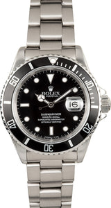 GENTS ROLEX SUBMARINER SPORT WATCH 40MM MODEL 16610 - BLACK INSERT, OYSTER SPORT BRACELET
