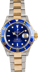 GENTS ROLEX SUBMARINER SPORT WATCH 40MM MODEL 16613- BLUE INSERT, OYSTER SPORT BRACELET