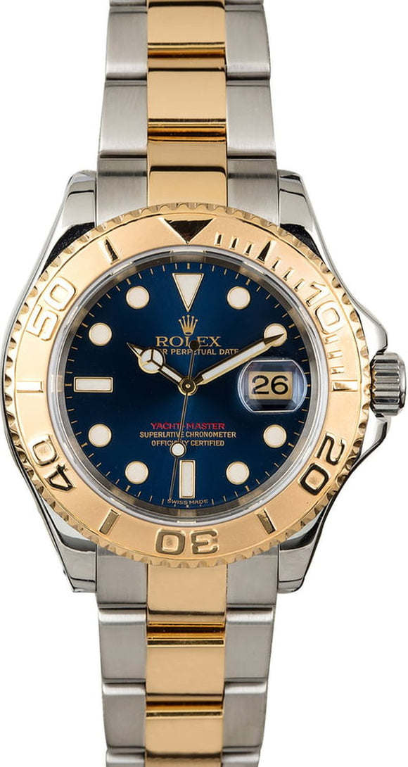GENTS ROLEX SPORT YACHT-MASTER WATCH 40MM MODEL # 16623- BLUE DIAL, OYSTER SPORT BRACELET