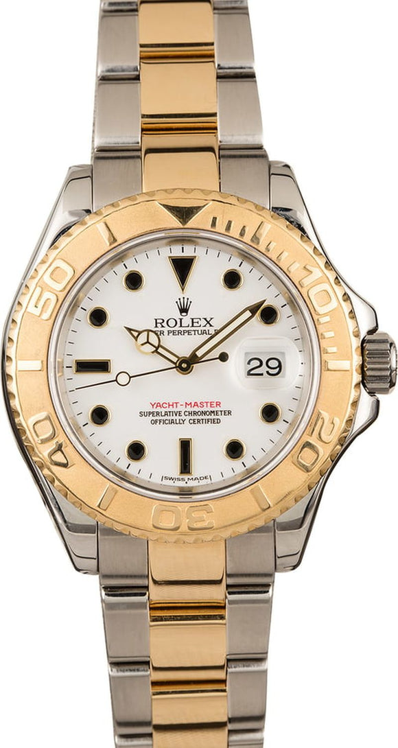 GENTS ROLEX SPORT YACHT-MASTER WATCH 40MM MODEL # 16623 - WHITE DIAL, OYSTER SPORT BRACELET