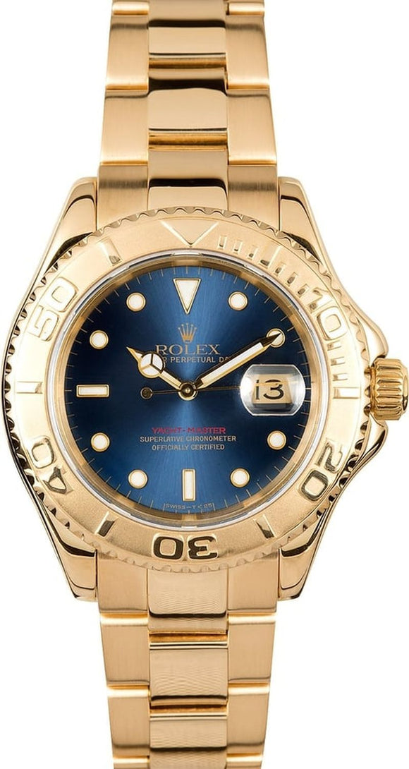 GENTS ROLEX SPORT YACHT-MASTER WATCH 40MM MODEL # 16628 - BLUE DIAL, OYSTER SPORT BRACELET