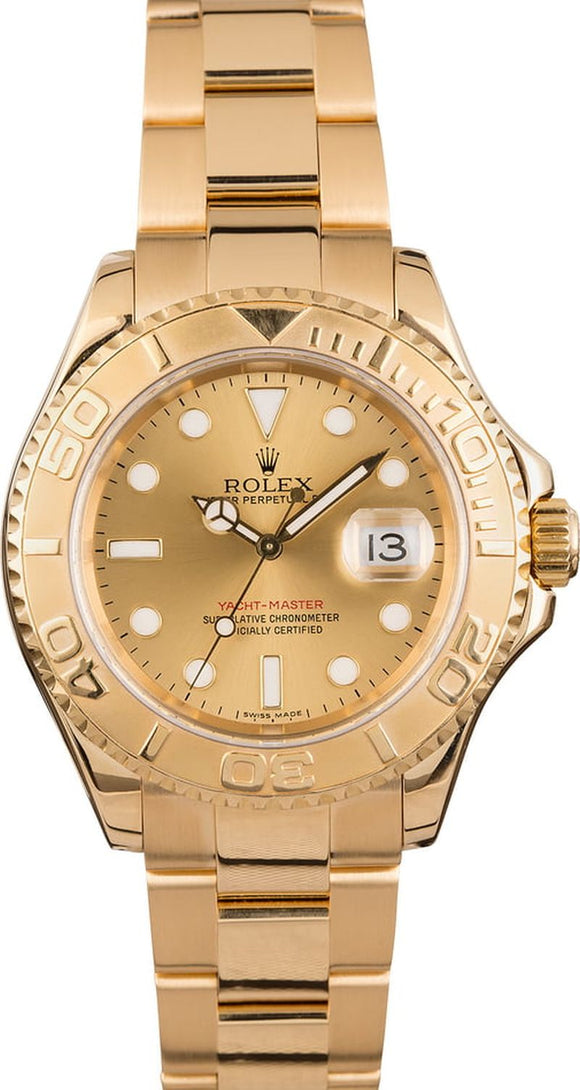 GENTS ROLEX SPORT YACHT-MASTER WATCH 40MM MODEL # 16628 - CHAMP. DIAL, OYSTER SPORT BRACELET