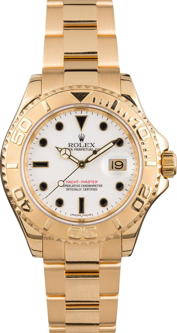 GENTS ROLEX SPORT YACHT-MASTER WATCH 40MM MODEL # 16628 - WHITE DIAL, OYSTER SPORT BRACELET