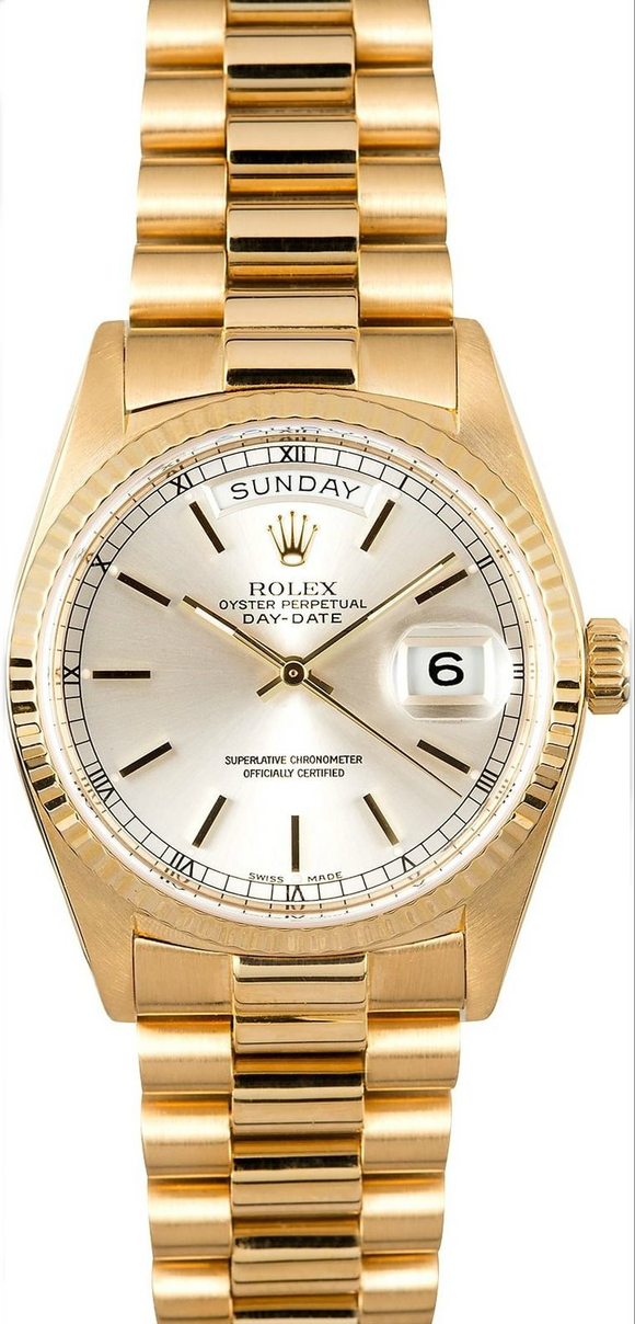 GENT'S ROLEX DAY-DATE PRESIDENT WATCH 36MM MODEL 18238 - SILVER DIAL, PRESIDENT BRACELET