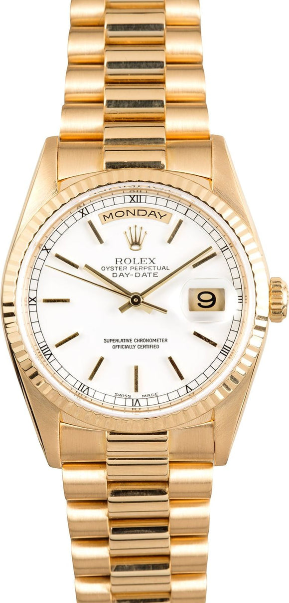 GENT'S ROLEX DAY-DATE PRESIDENT WATCH 36MM MODEL 18238 - WHITE DIAL, PRESIDENT BRACELET